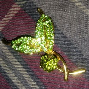 Gold Tone Green Rhinestone Leaf Berry Pin Brooch